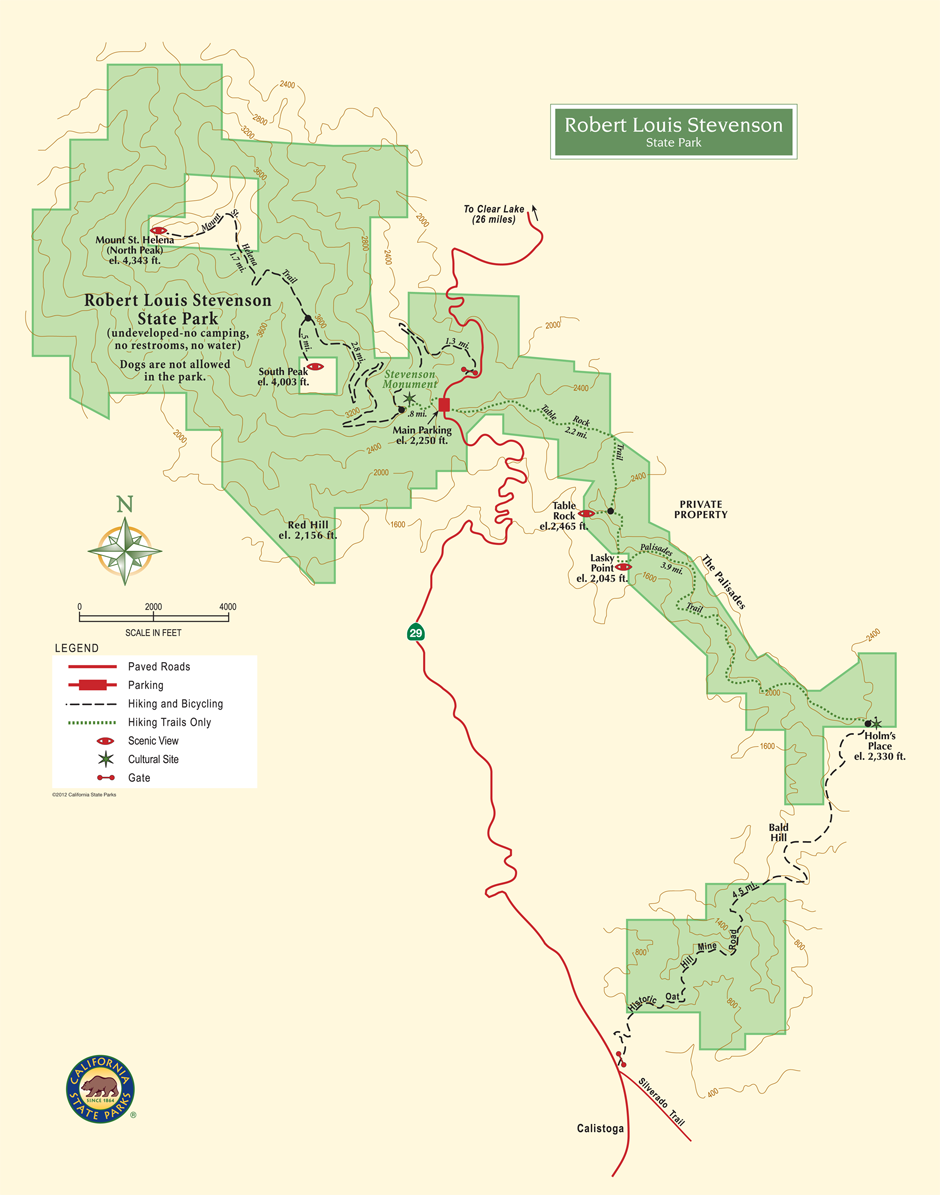 Robert Louis Stevenson State Park Map